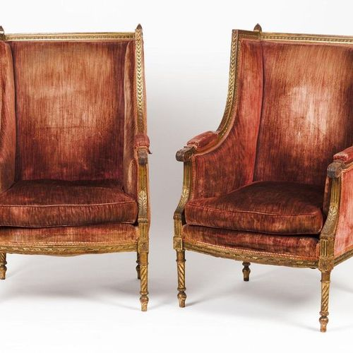 A pair of armchairs Carved wood and evidence of gilding  Foliage frieze decorati…