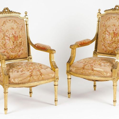"A pair of Napoleon III ""fauteuils à la Reine"" Carved and gilt wood  Machine made…"