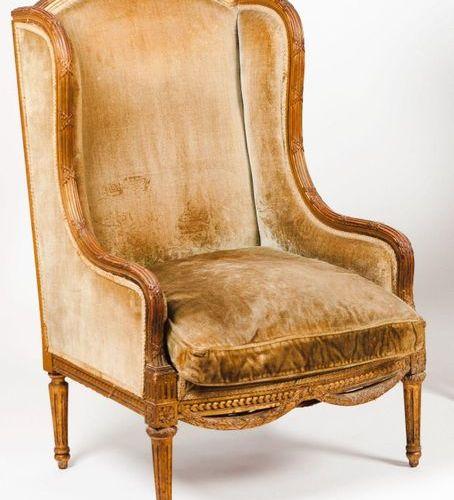 An armchair Carved and gilt wood  Green velvet upholstery  England, 19th century…