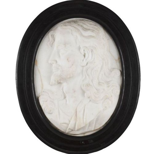 The Head of Christ Marble sculpture  Black marble frame  Italy, 19th century  (r…