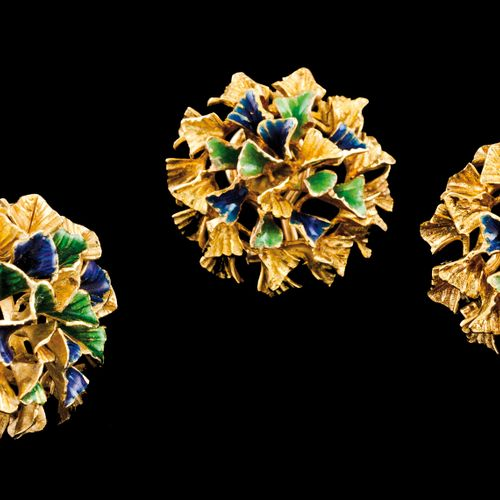A ring and pair of earrings Portuguese gold  Stylised flower with applied blue a…