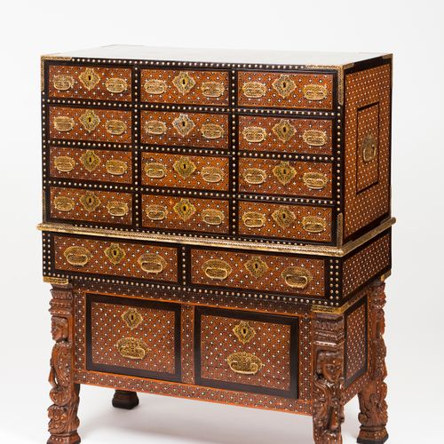 An important pair of Indo Portuguese cabinets on stand Sissoo veneered teak  Ebo…