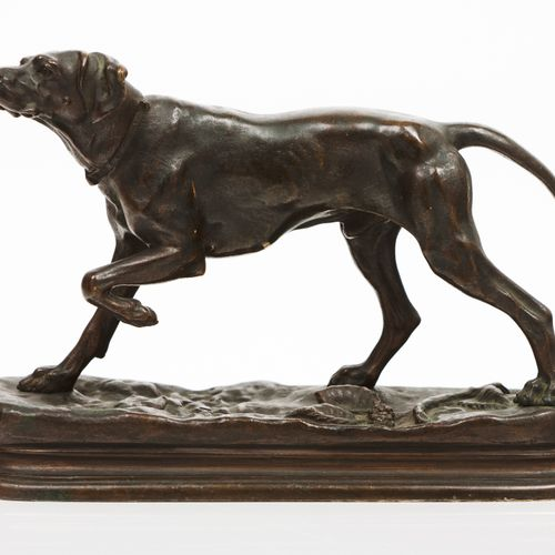 """Jules Moigniez (1835 1894) """"A Pointer"""" Patinated bronze sculpture  Signed 13x20 …"""