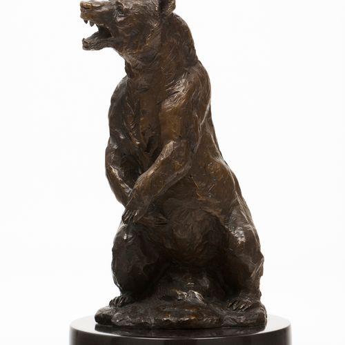 Antoine Louis Barye (1796 1875) A brown bear Patinated bronze sculpture  Black m…