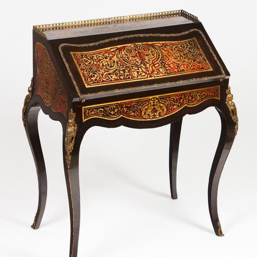 A Boulle taste Napoleon III bonheur du jour desk Solid and veneered rosewood  To…