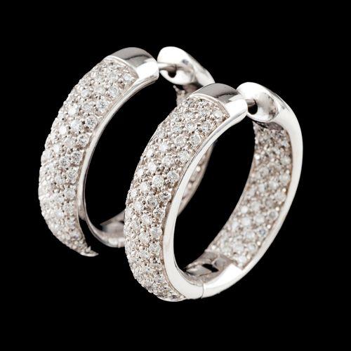 A pair of earrings Gold  Loops set with brilliant cut diamond pavé  Ram hallmark…