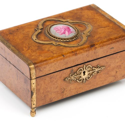 A Napoleon III jewellery box Bird's eye with applied gilt metal element  Cover w…