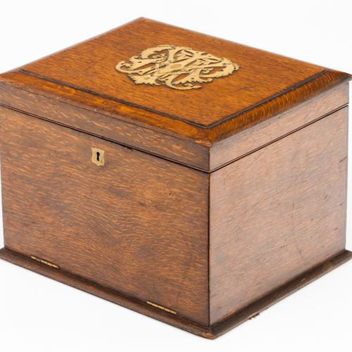 A Napoleon III style box Oak  Yellow metal monogram to cover 24x33x26 cm