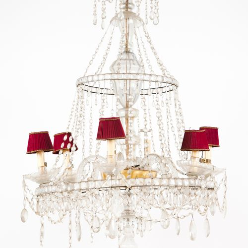 A six branch chandelier Glass and crystal drops 120x85 cm
