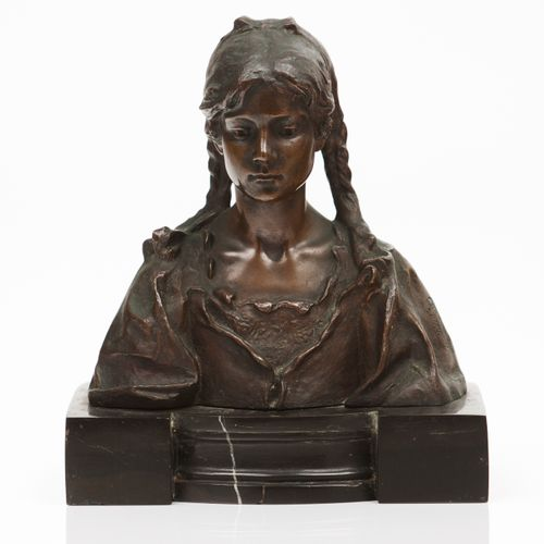 "António Teixeira Lopes (1866 1942) ""A Rosebud"" Patinated bronze sculpture  Marbl…"