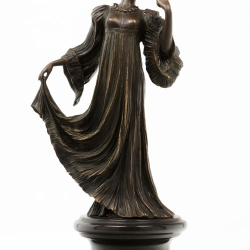 """""""Danseuse"""" Female figure patinated bronze sculpture  Marble stand  Signed, possi…"""