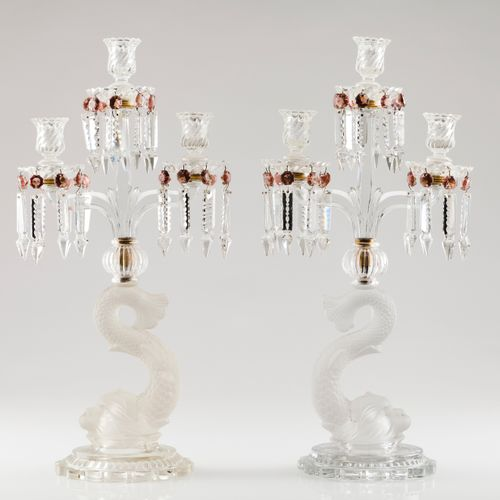 A pair of three branch candelabra Opaque low relief and cut glass with dolphins …