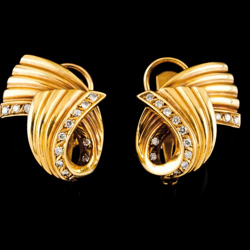 A pair of earrings Portuguese gold  Fluted body set with two friezes of small br…
