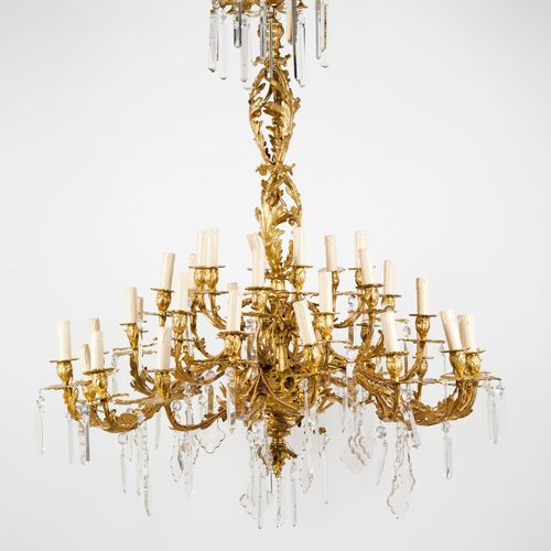 A large 36 branch Louis XV style chandelier Gilt bronze  Moulded and chiselled f…