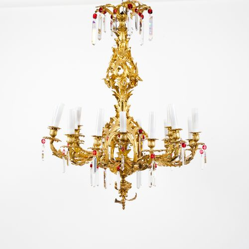 An 18 branch Napoleon III style chandelier Gilt, moulded and chiselled bronze  F…