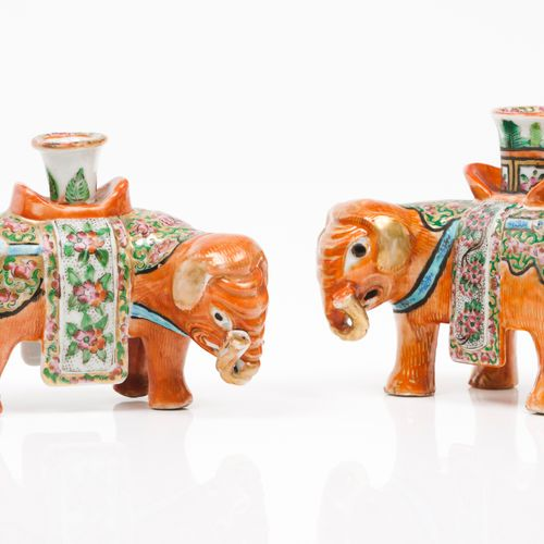 A pair of elephant candle stands Chinese porcelain  Polychrome and gilt decorati…