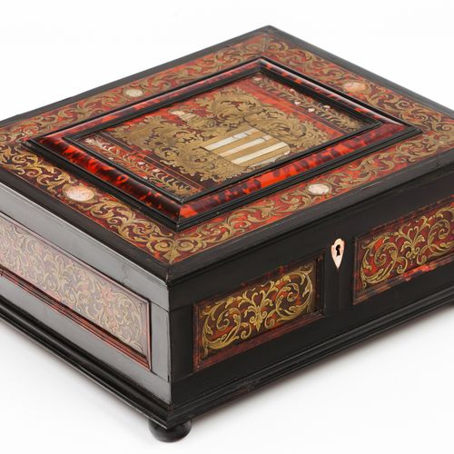 A crested games box Boulle marquetry of applied metal, ivory and tortoiseshell e…