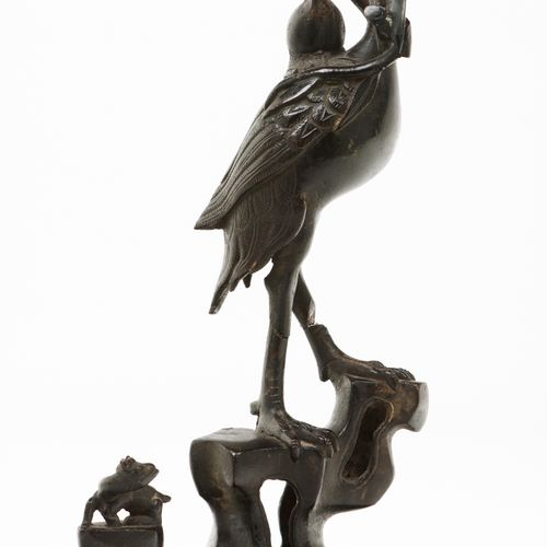 A crane Patinated metal sculpture  China, Qing dynasty, 19th century  (losses an…