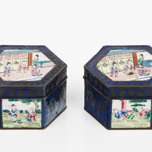 A pair of boxes with covers Polychrome enamel on yellow metal  Chinese daily sce…