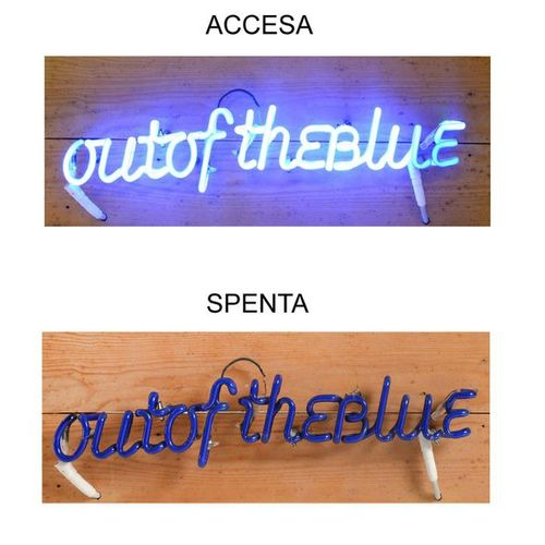 NANNUCCI MAURIZIO [ 1939] Out of the blue, 1993 blue paste glass and neon light …