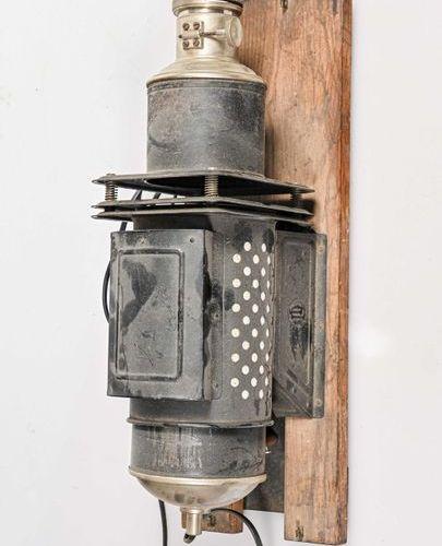 Magic Lantern DEMARIA LAPIERRE in sheet metal on its wooden base. As it is.