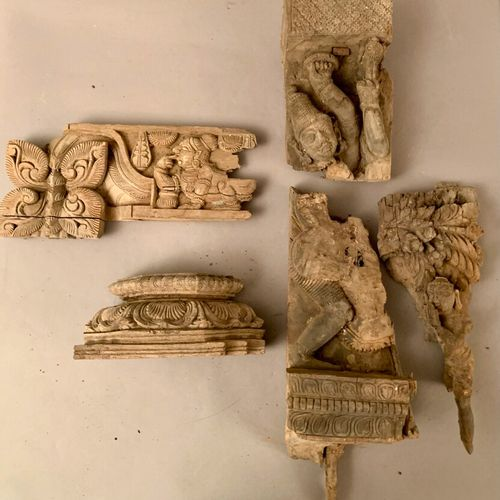 Five carved woods.  (Fragments).  India.  As is.