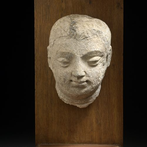 INDIA GANDHARA, Greco Buddhist art, 2nd/4th century  Stuccoed Buddha head with o…