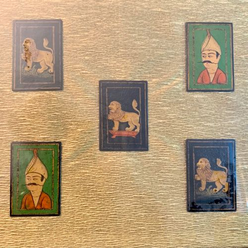 Five Persian miniatures in the same frame, three lions and two portraits of men.…