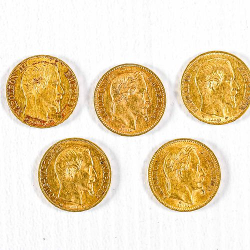 France Lot of five 20 Francs gold coins : Napoleon III bare head : 1859, 1860 Na…