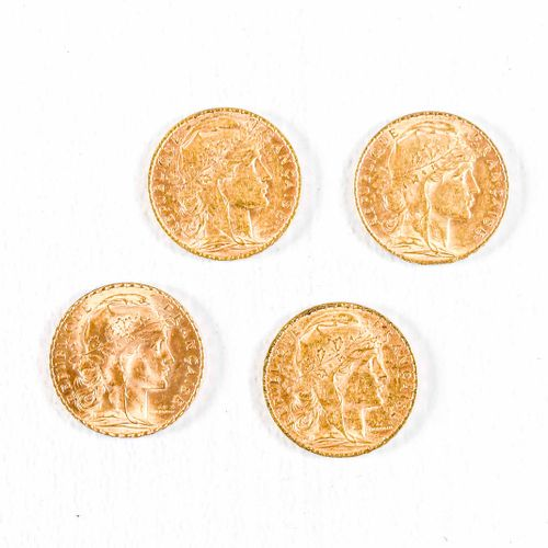 France Lot of four 20 Francs gold coins : Type Coq : 1904, 1905, 1907, 1910
