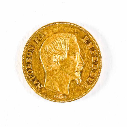 France A 50 Franc gold coin : Napoleon III bareheaded. 1857 A