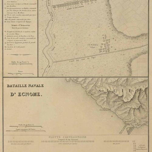 Ensemble comprenant douze cartes réhaussées H. 30 cm L. 46 cm