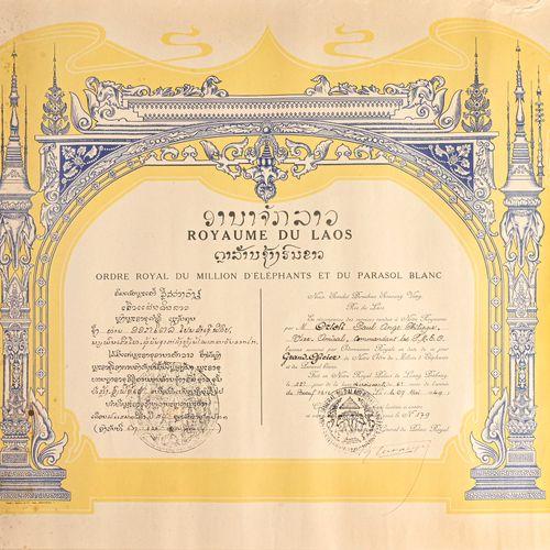 LAOS Diplôme de Grand Officier de l'Ordre du million d'éléphants attribué au vid…