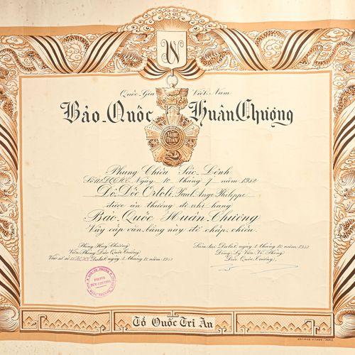 VIETNAM Diplôme de l'Ordre de la République du Vietnam  En langue Viet, attribué…