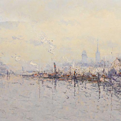 Jean Pierre DUBORD (1949 ) Rouen, péniches à quai  Huile sur toile, signée en ba…
