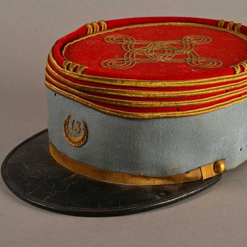 France Képi polo d'Officier du 13ème tirailleurs algérien  En tissu bleu et gara…