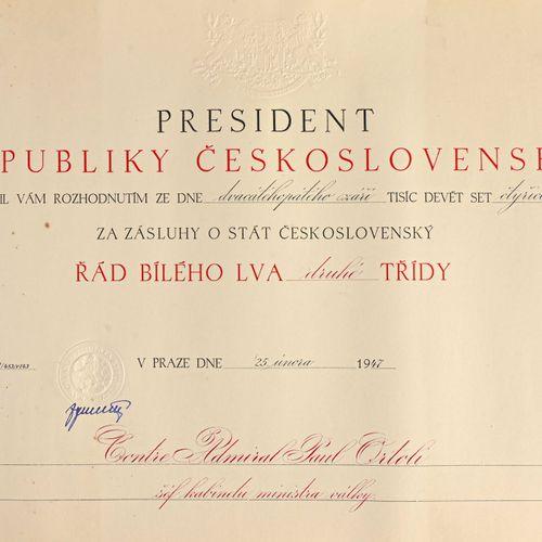 TCHÉCOSLOVAQUIE Diplôme de Grand Officier du lion blanc attribué en 1947  Saliss…
