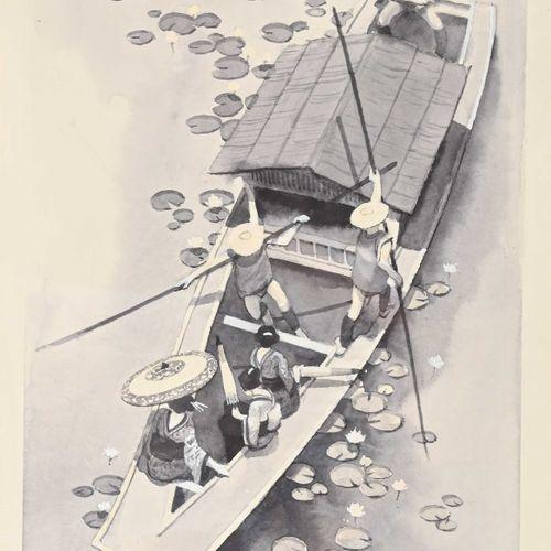 John PENDRAY (1937 ) Bateau de rivière Japon  Aquarelle signée en bas à droite, …