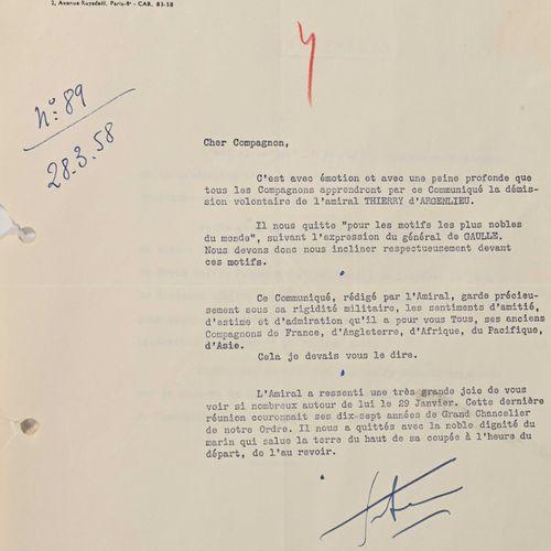 France Lettres de la chancellerie de l'Ordre de la Libération sur la démission d…