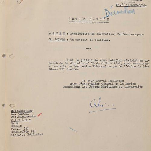 France Lettre d'autorisation de port du Lion Blanc de Tchecoslovaquie à l'amiral…