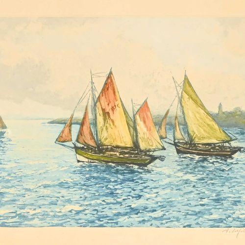 A. LAFFITE (1863 ?) Les chalutiers Gravure en couleur signée en bas à droite H. …