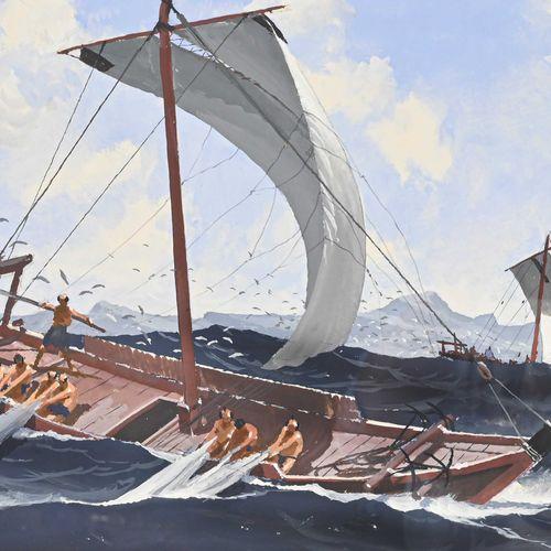 John PENDRAY (1937 ) Bateau de pêche japonais  Gouache signée en bas à gauche, d…