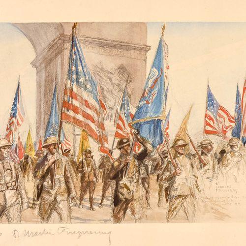 Charles FOUQUERAY (1869 1956) Lusitania et Défilé triomphal  Deux estampes signé…