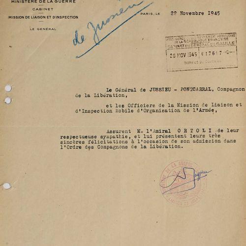 France Lettre de félicitation du Général de Jussieu à l'amiral Ortoli pour sa no…