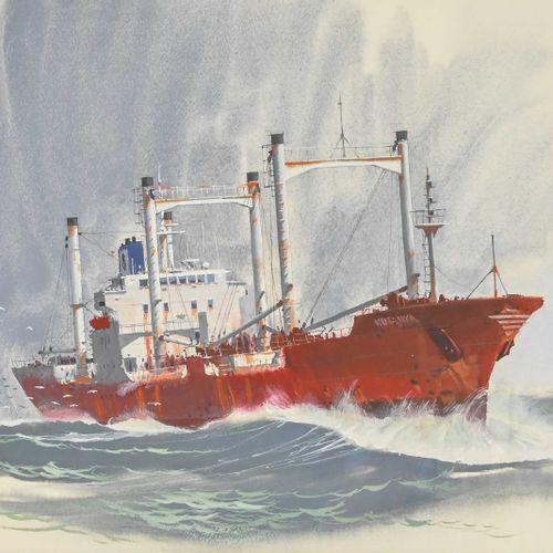 John PENDRAY (1937 ) Cargo  Gouache signée en bas à gauche, datée 2016  H. 40 cm…