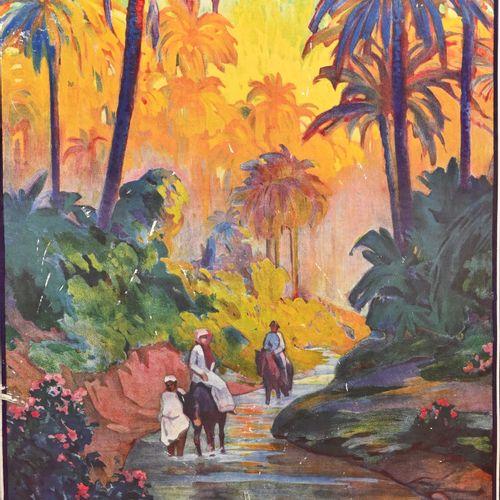 Affiche PLM entresolée sur carton  Oasis de Nefta  H. 95 cm L. 63 cm  Griffures,…