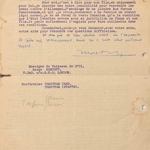 France Lettre de Serge Krottof, futur Waffen SS  Lettre à l'amiral Ortoli lui de…