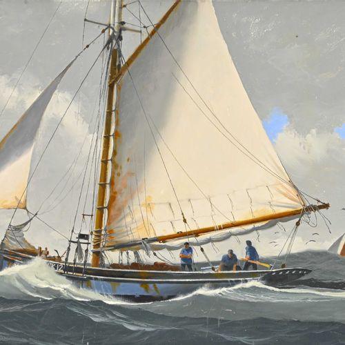 John PENDRAY (1937 ) Bateau de pêche anglais  Huile sur toile signée en bas à ga…