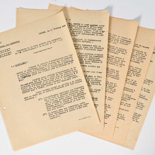 France Lot de documents sur le commando Ponchardier  Fait à Saigon en 1950