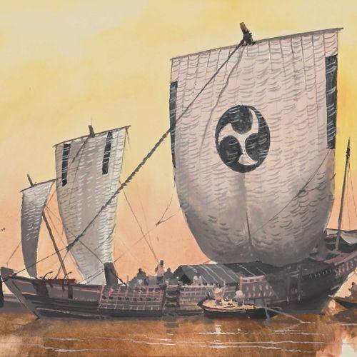 John PENDRAY (1937 ) Navires japonais  Gouache signée en bas à gauche, datée 201…